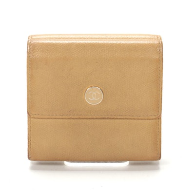 Chanel Coco Mark Wallet in Beige Calfskin Leather