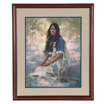 "Howard Terpning Offset Lithograph ""Woman of the Sioux,"" 1984"