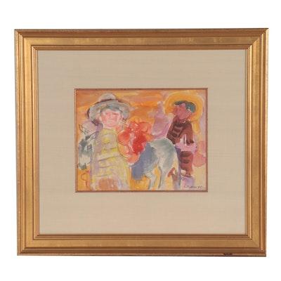 "Gustav Likan Watercolor Painting ""Village Boys,"" 1965"