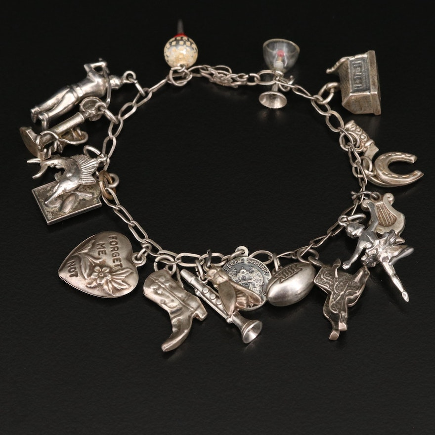 """Vintage Sterling Charm Bracelet with Saddle and """"Forget Me Not"""" Heart Charms"""