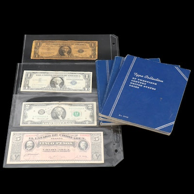 Currency and Three Whitman Binders of U.S. Coins