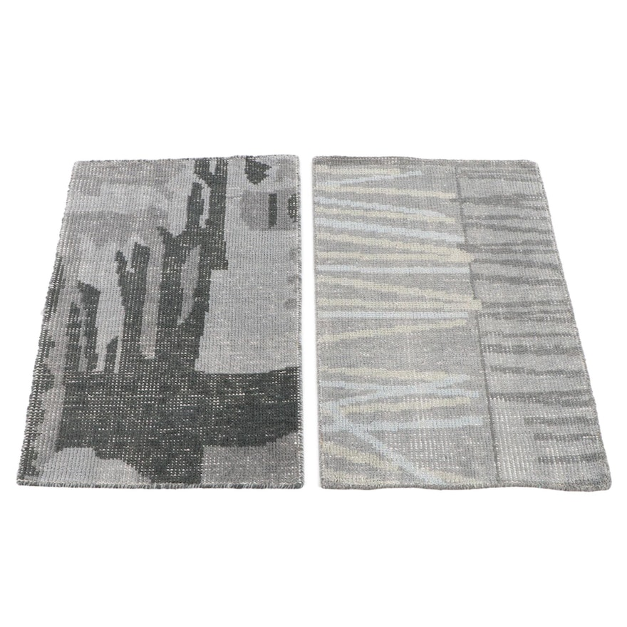 2'0 x 3'1 Hand-Knotted Indian Wool Accent Rugs from The Rug Gallery