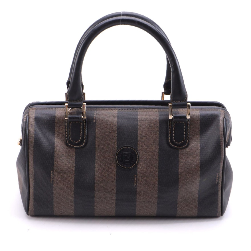 Fendi Doctor's Bag in Pequin Stripe Coated Canvas and Smooth Black Leather