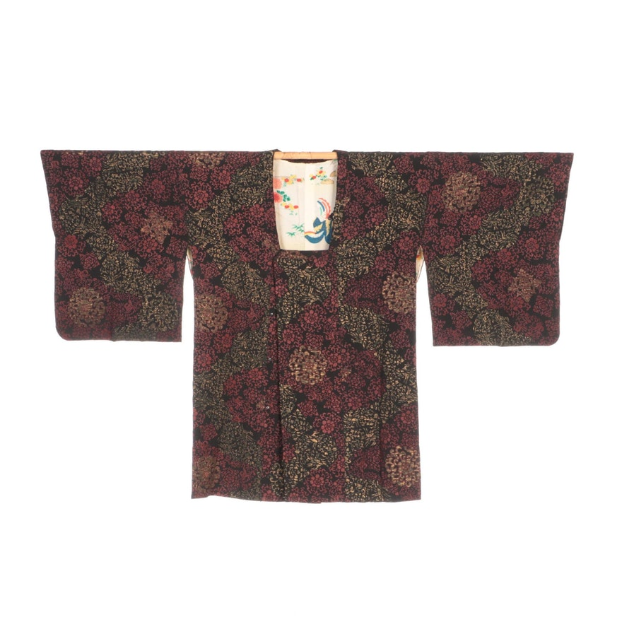 Embroidered Urushi Floral Motif Michiyuki Jacket, Shōwa Period