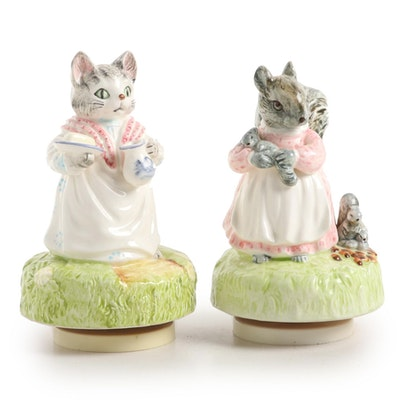 """Schmid Beatrix Potter """"Mrs. Ribby"""" and """"Goody Tip Toes"""" Ceramic Music Boxes"""