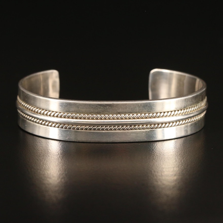 Southwestern Sterling Silver Cuff with Twisted Wire Detail