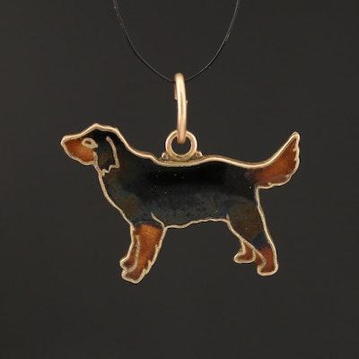 14K Enamel Dog Pendant
