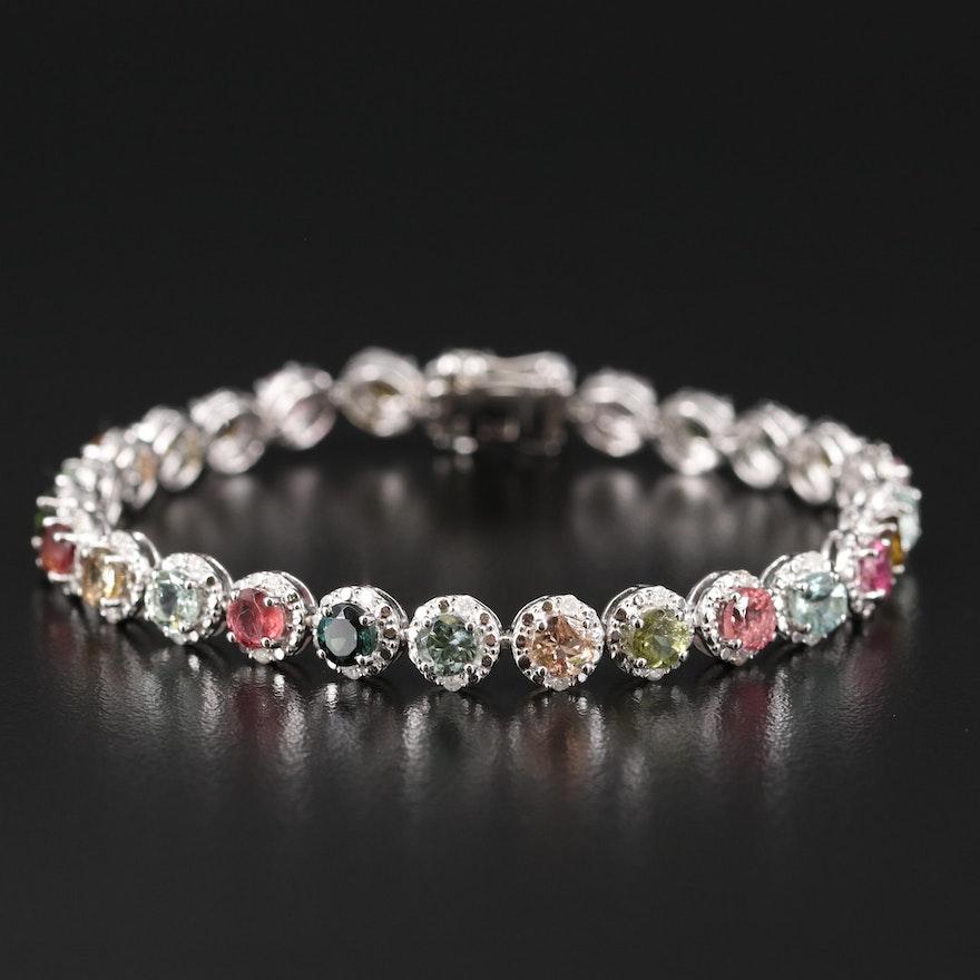 Sterling Tourmaline and Diamond Link Bracelet
