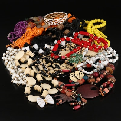 Generous Jewelry Selection Featuring Trifari Bead Necklace and Bone Accents