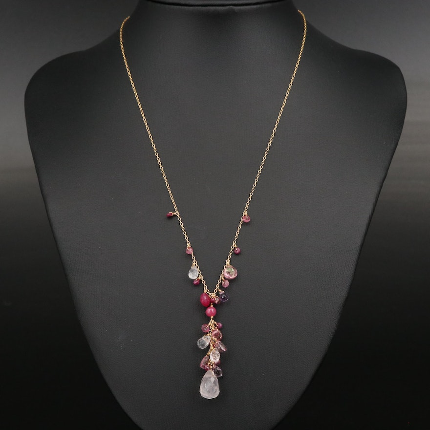 Sterling Quartz, Amethyst and Corundum Y Necklace