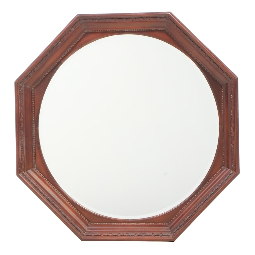 French Provincial Style Walnut Octagonal Shaped Carved Wall Mirror