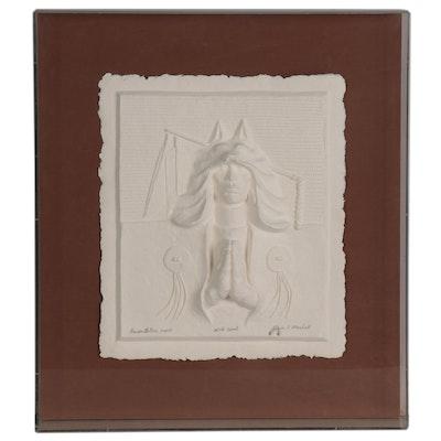 "Alvin K. Marshall Cast Paper Relief ""Wolf Spirit,"" 1987"