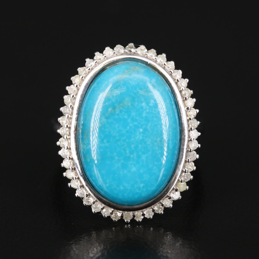 Sterling Turquoise and Diamond Ring