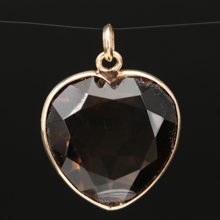 14K Smoky Quartz Heart Pendant