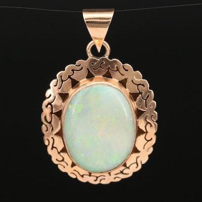 14K Opal Oval Pendant