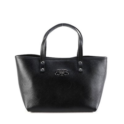 Salvatore Ferragamo Gancini Small Tote Bag in Black Saffiano Leather