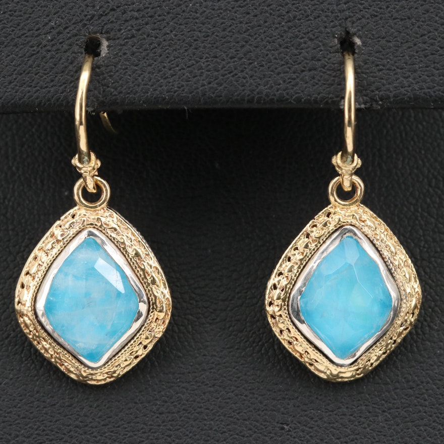 18K and Sterling Magnesite and Labradorite Doublet Dangle Earrings