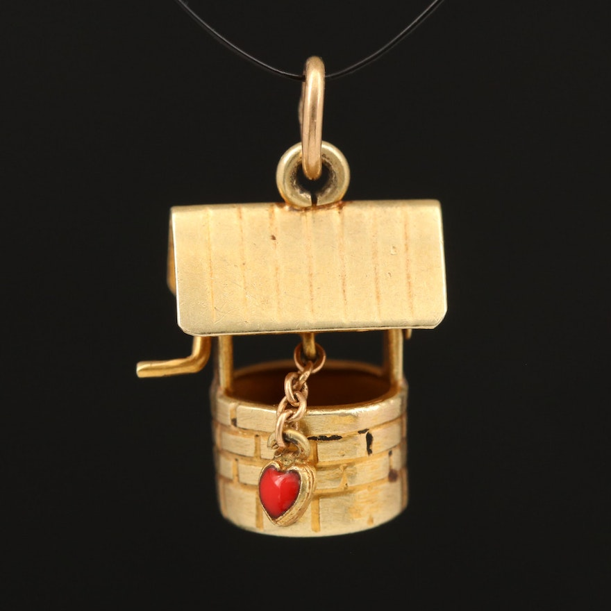 14K Wishing Well with Articulating Enamel Heart