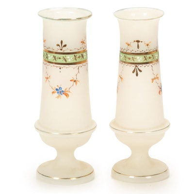 Pair of Victorian Hand-Painted Bristol Glass Vases, Late 19th Century