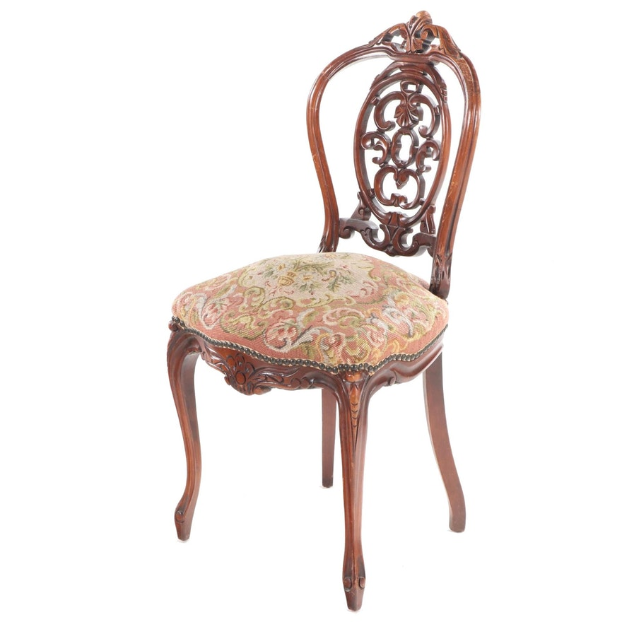 Victorian Carved Mahogany Side Chair with Needlepoint Seat, Late 19th Century