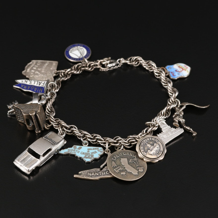 Vintage Charm Bracelet with Typewriter and State Charms