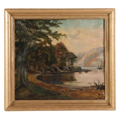 Lakeside Landscape Oil Painting, 19th Century