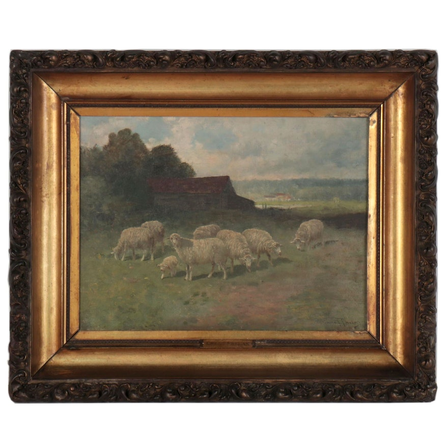 Charles T. Phelan Oil Painting of Pastoral Landscape with Sheep