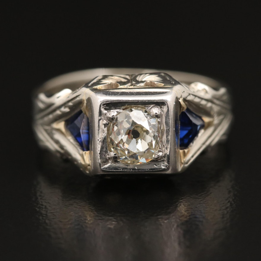Vintage 18K Diamond and Sapphire Ring