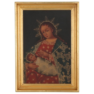 "Cusco Style Oil Painting ""Nursing Madonna and Child"""