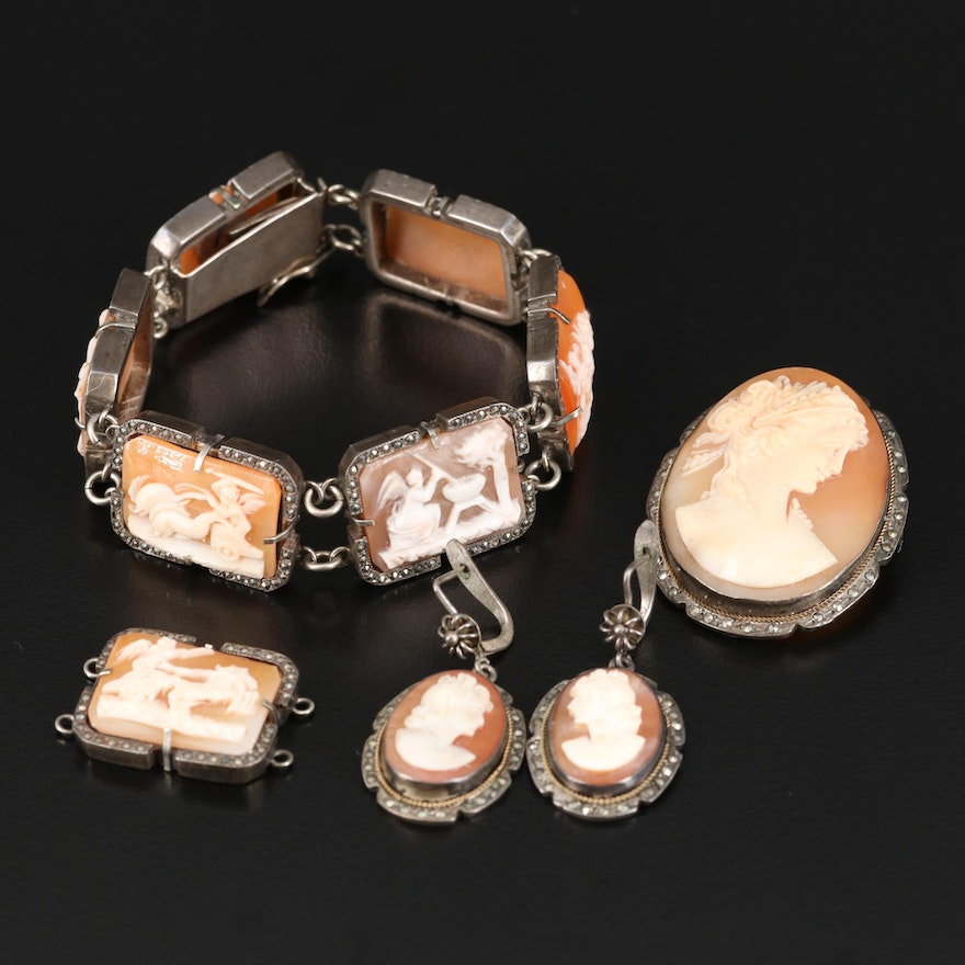 Sterling and 800 Silver Shell Cameo Bracelet, Earrings and Brooch