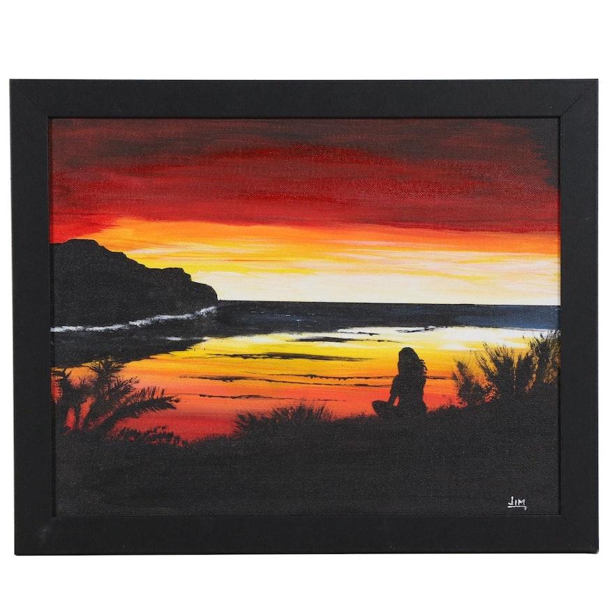 "Jim Vander Wiel Acrylic Painting ""Sunrise Thinker,"" 2020"