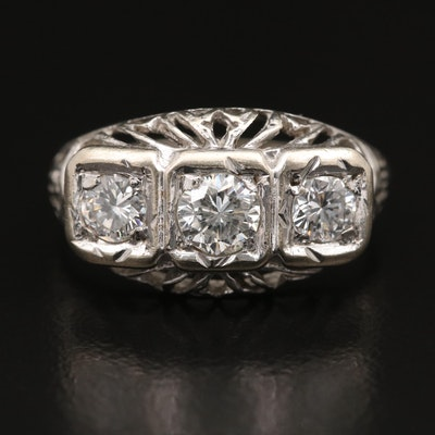 Vintage 14K Three Stone Diamond Openwork Ring