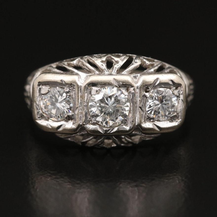 Vintage 14K Three Stone Diamond Openwork Ring