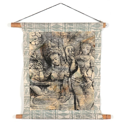 Embellished Serigraph of Borobudur Temple Carvings, Late 20th Century