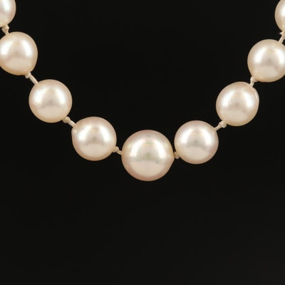 Graduated Pearl Strand Necklace with 14K Clasp
