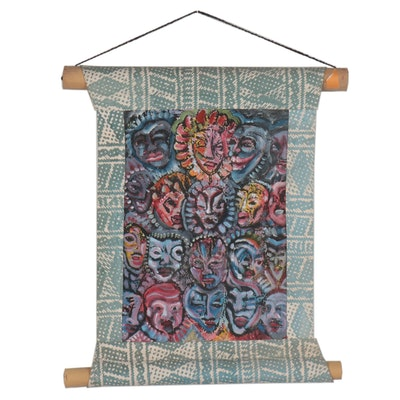 Balinese Embellished Serigraph Wall Hanging, Late 20th Century