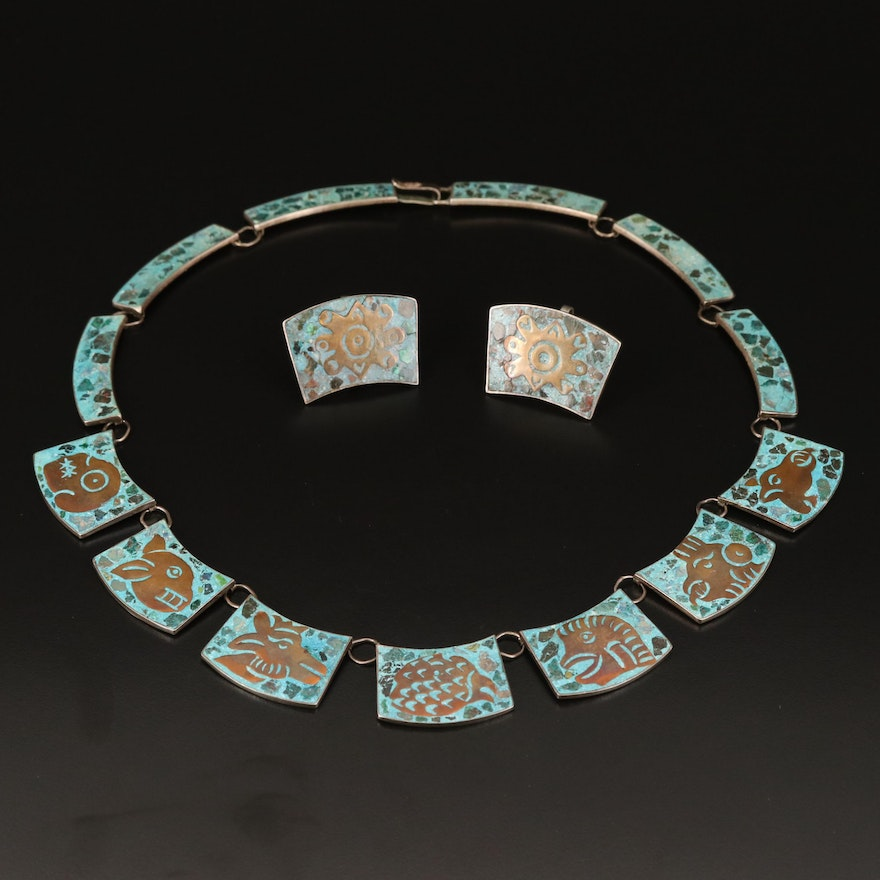 Sterling Mesoamerican Glyph Themed Panel Necklace and Earring Set