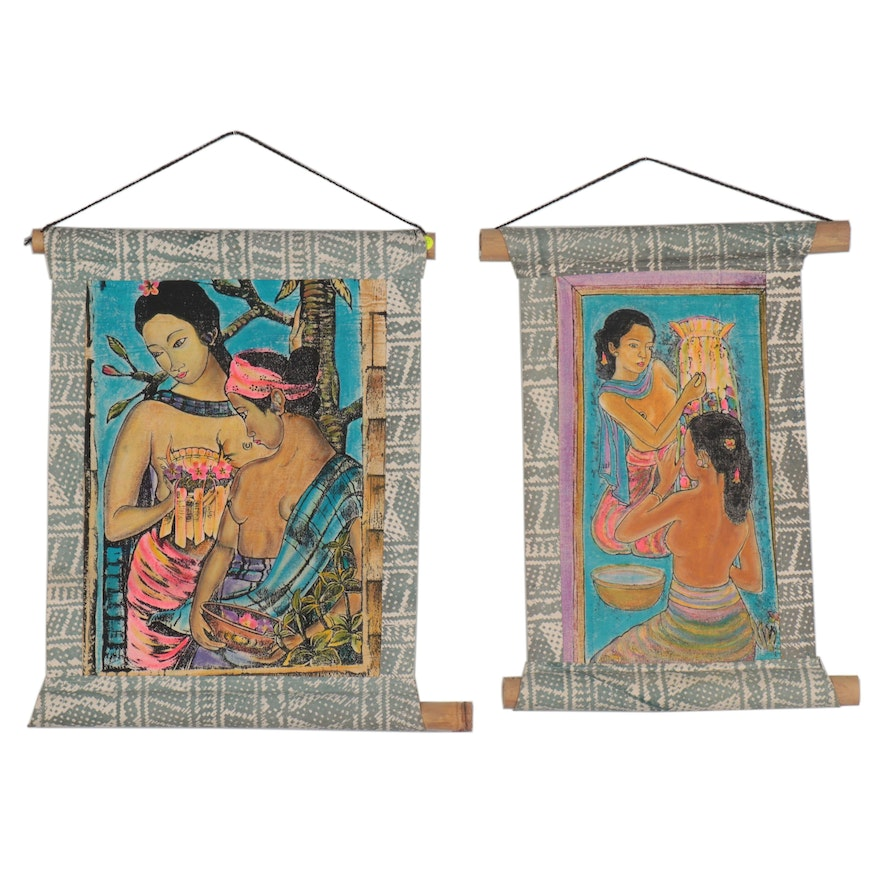 Balinese Embellished Serigraph Wall Hangings, Late 20th Century