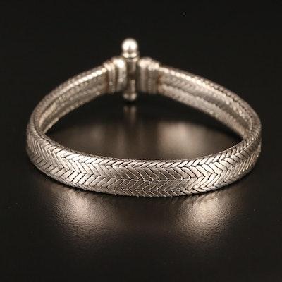 Vintage Berber Style 800 Silver Woven Chain Bracelet