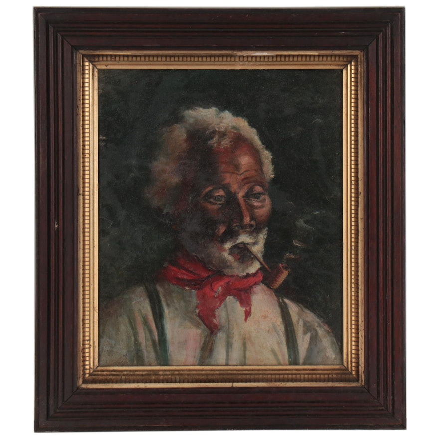 Bust Oil Portrait of Man Smoking a Pipe, Early 20th Century