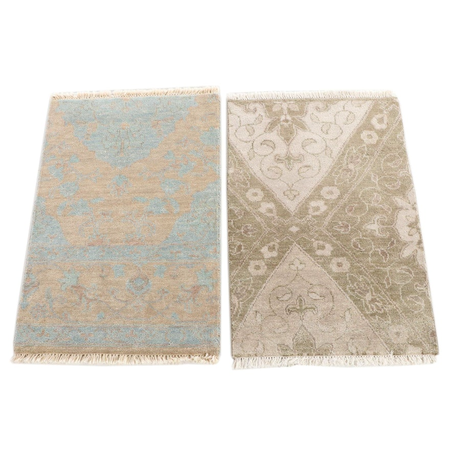 1'11 x 3'2 Hand-Knotted Indian Wool Accent Rugs from The Rug Gallery