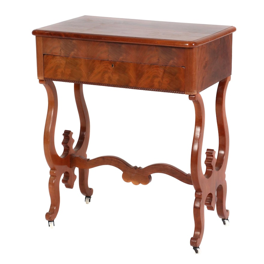 Flame Mahogany Work Table, Probably German, Mid-19th Century