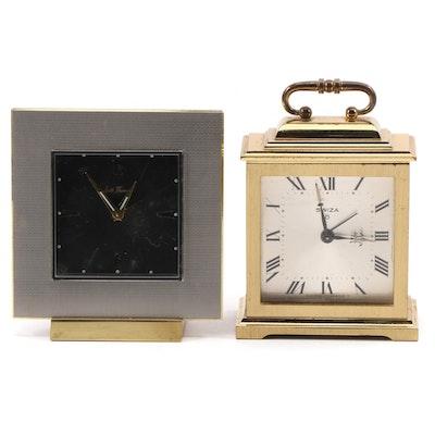 Seth Thomas and Swiza Brass Alarm Clocks, Late 20th Century
