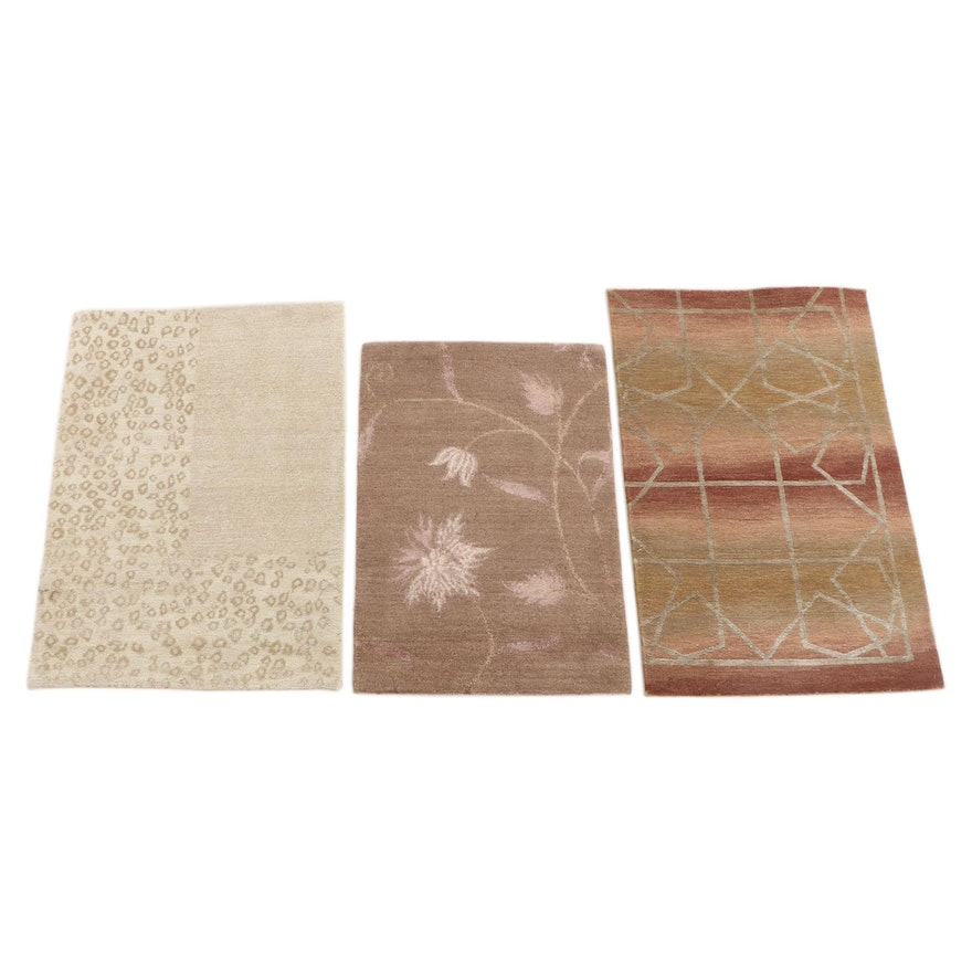 2'0 x 2'11 Hand-Knotted Nepalese Wool and Silk Accent Rugs from The Rug Gallery