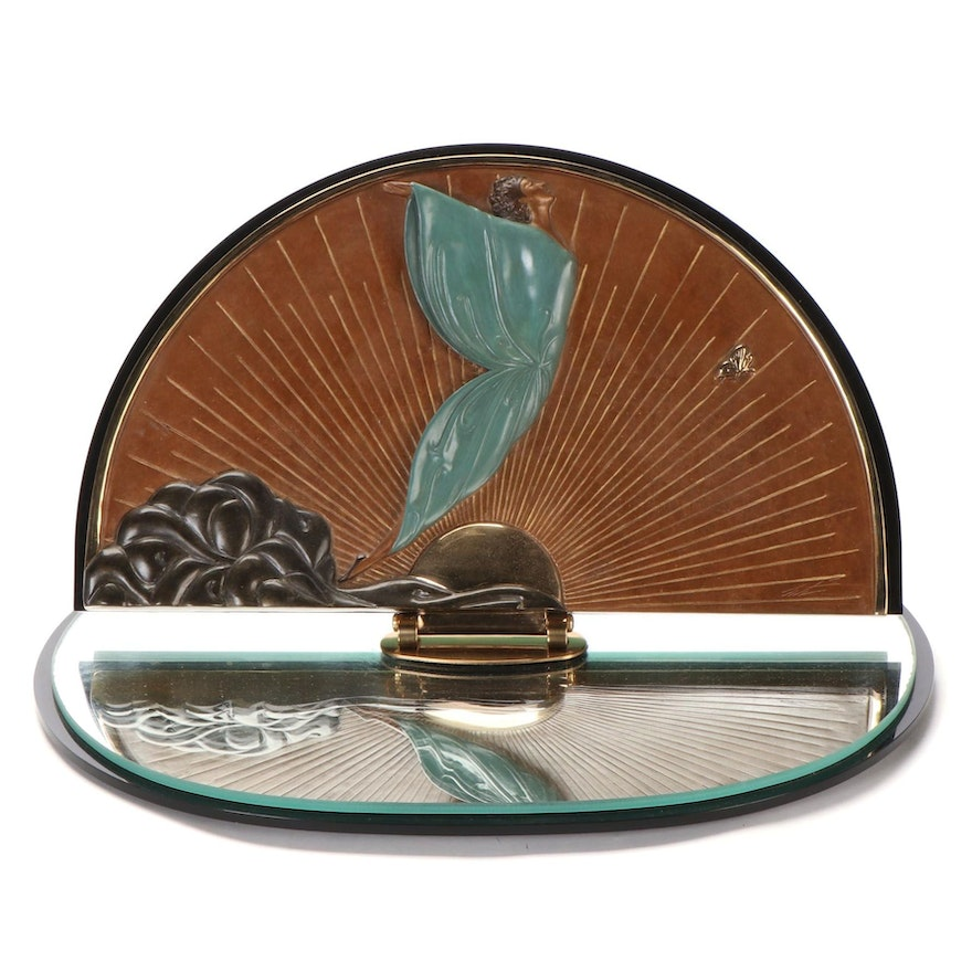 """Erté Patinated Bronze Table Vanity Mirror """"Transcendence,"""" 1984"""
