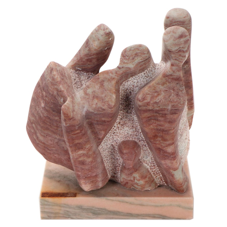 Abstract Figural Pink Marble Sculpture, Late 20th Century