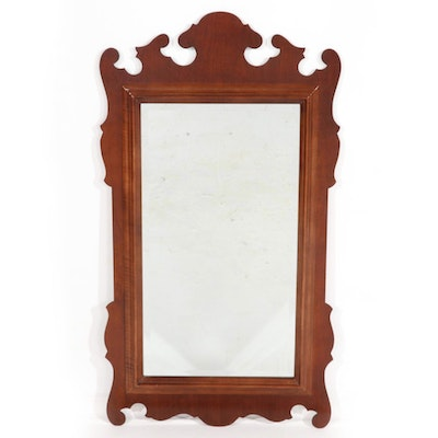Chippendale Style Cherry Wall Mirror, Mid to Late 20th Century