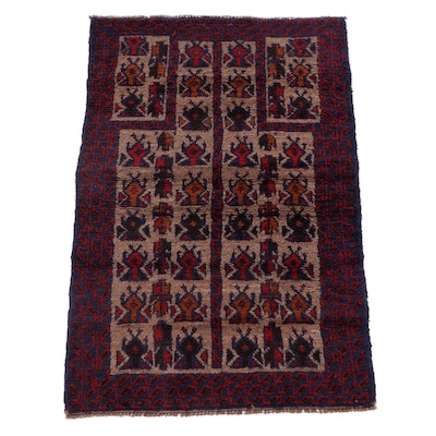 2'10 x 4'6 Hand-Knotted Afghan Baluch Prayer Rug