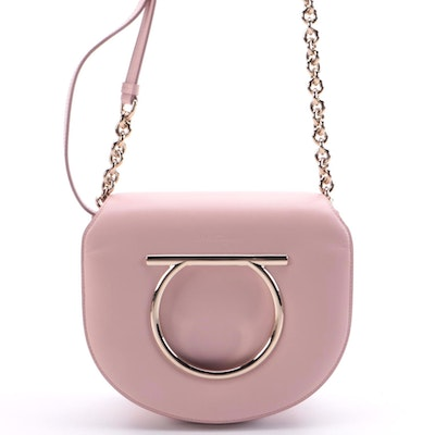 Salvatore Ferragamo Gancini Saddle Bag in Soft Pink Smooth Leather