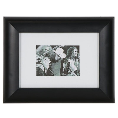 "Chuckles Rzeppa Watercolor Painting Over Giclée ""Lynyrd Skynyrd,"" 2021"